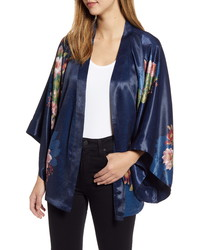 Nordstrom Floral Satin Open Jacket