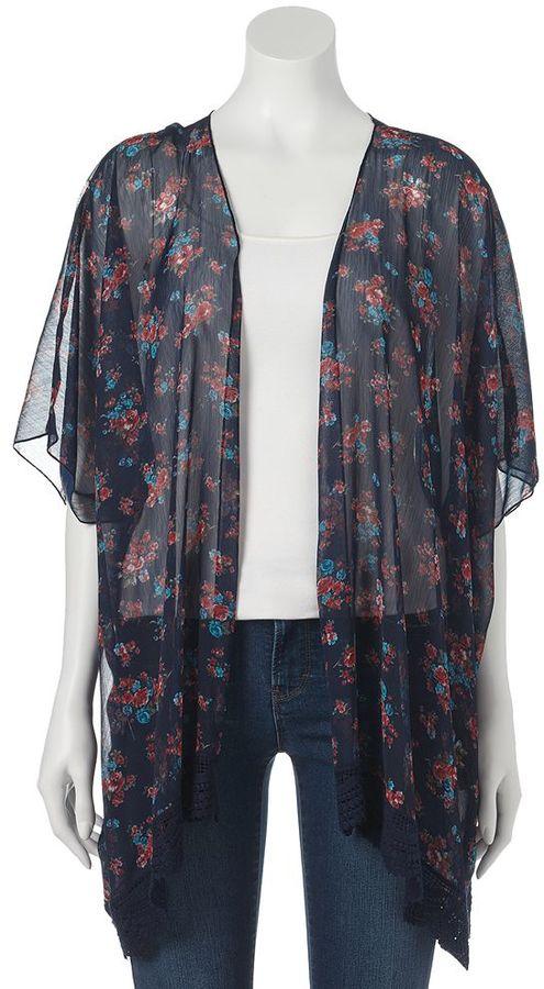 47c1b94c2f52e5 Mason Mackenzie Sheer Floral Kimono Juniors