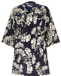 River Island Navy Crepe Floral Print Kimono Dress