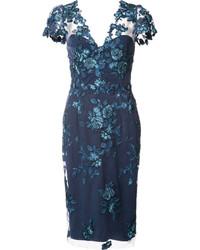 Navy Floral Lace Midi Dress