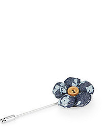 Original Penguin Royal Floral Print Flower Lapel Pin