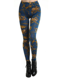 Abstract painting floral print blue leggings medium 156445