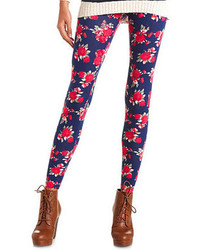 Charlotte russe cotton floral printed leggings medium 156443