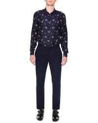 Alexander McQueen Floral Print Long Sleeve Shirt Navy