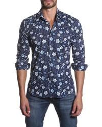 Trim fit floral print sport shirt medium 576471