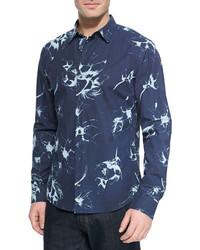 Woven floral print sport shirt navy medium 244989