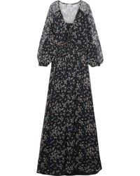 Floral print crinkled silk chiffon maxi dress blue medium 4393719