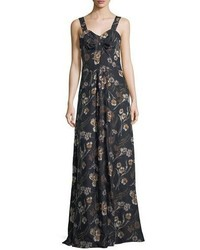 Floral print sleeveless maxi dress medium 5207788