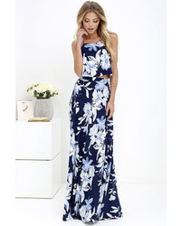 Love for lanai navy blue floral print two piece maxi dress medium 1316951