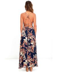 a6590645f73c LuLu*s Adventure Seeker Navy Blue Floral Print Maxi Dress, $66 ...