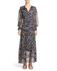 Isabel Marant Metallic Bloom Silk Maxi Dress