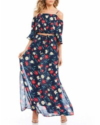 Sequin Hearts Floral Print Two Piece Maxi Dress