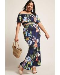 Plus size floral crop top maxi skirt set medium 7012245