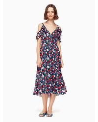 Kate Spade Daisy Satin Stripe Midi Dress