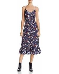 En Creme En Crme Floral Print Satin Midi Dress