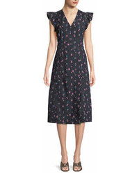 Rebecca Taylor Farren Floral Print Faux Wrap Midi Dress