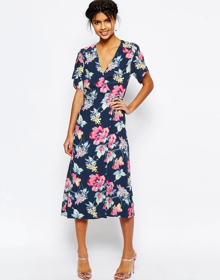 Asos Floral Midi Tea Dress Where To Buy How To Wear
