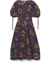 Marni Floral Print Cotton Poplin Midi Dress