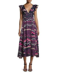 Floral print flutter sleeve midi dress blue medium 3698189