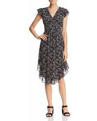 Aqua Flounce Hem Floral Print Midi Dress 100%