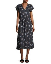Natalie v neck floral printed midi dress medium 4991285