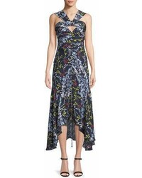 Tanya Taylor Sancia Ruched Vine Print Midi Dress