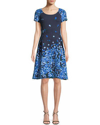 Carolina Herrera V Neck 34 Sleeve Floral Print Midi Cocktail Dress