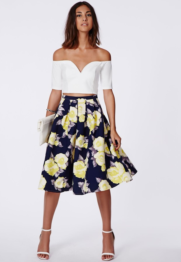 Missguided Gabriele Full Midi Skirt In Floral Print Navy | Where ...