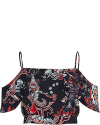 River Island Blue Paisley Print Frilly Bardot Top
