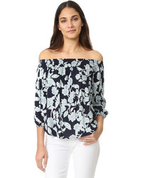 Splendid Etched Floral Off Shoulder Top