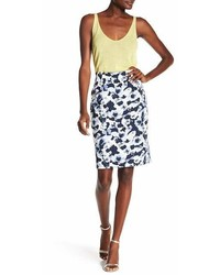 Atelier Luxe Floral Print Pencil Skirt