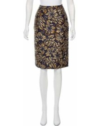 Prada Floral Brocade Knee Length Skirt W Tags