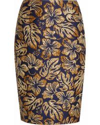 Prada Metallic Floral Jacquard Pencil Skirt Navy