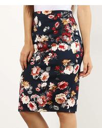 Navy floral pencil skirt medium 7013343