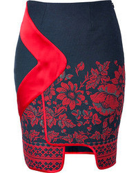 Piped border panel skirt in red floral print medium 53260