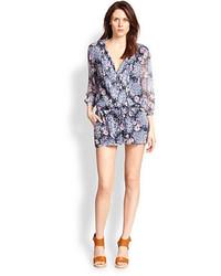 Joie Amara Silk Chiffon Floral Print Short Jumpsuit
