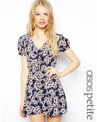 Asos Petite Floral Playsuit With Button Front And Tie Back