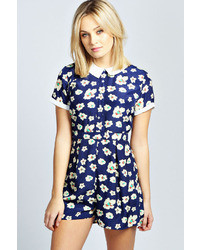 Boohoo Ria Floral Peter Pan Collar Woven Playsuit