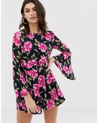 Girl In Mind Floral Print Fluted Playsuit