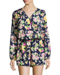 Neiman Marcus Floral Print Long Sleeve Romper Navymulti