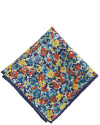 Italian wool pocket square in multicolor floral medium 25657