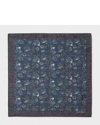 Paul Smith Navy Logan Floral Print Cotton Pocket Square