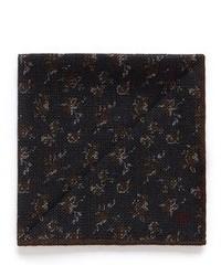 Isaia Small Floral Print Wool Silk Pocket Square