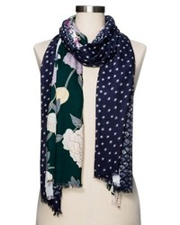 Merona Floral Fashion Scarf Navy
