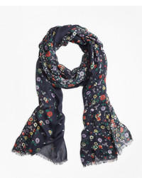 Brooks Brothers Floral Print Oblong Scarf