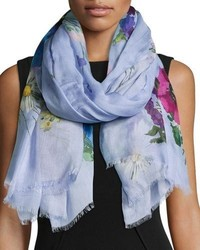 Floral print oblong scarf navy medium 5253495