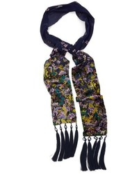 Collection XIIX Folk Floral Tassel Skinny Scarf