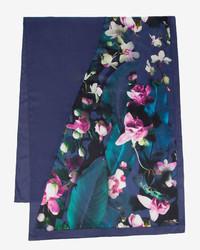 Ted Baker Fushiaa Fuchsia Floral Split Silk Scarf