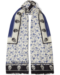 Alexander McQueen Printed Modal And Wool Blend Scarf