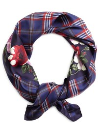 Brooks Brothers Tartan With Floral Silk Square